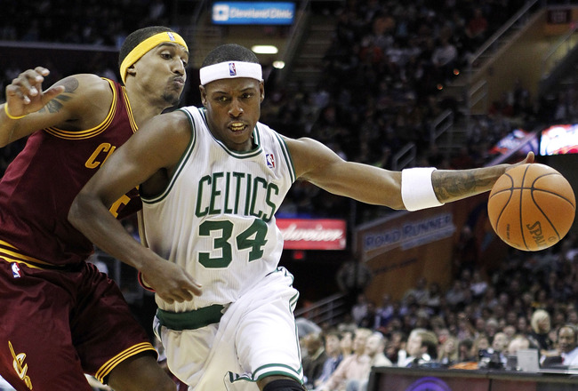 CLEVELAND - OCTOBER 27:  Paul Pierce #34 of the Boston Celtics tries to get around Jamario Moon #15 of the Cleveland Cavaliers at Quicken Loans Arena on October 27, 2010 in Cleveland, Ohio.  (Photo by Gregory Shamus/Getty Images)