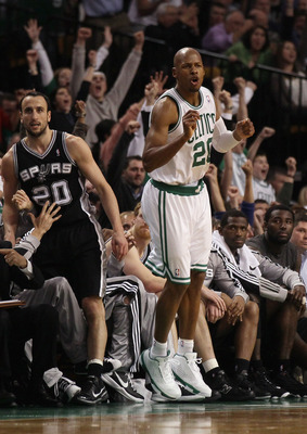 BOSTON, MA - JANUARY 05:  Ray Allen #20 of the Boston Celtics celebrates his three point shot in the fourth quarter as Manu Ginobili #20 of the San Antonio Spurs stands by on January 5, 2011 at the TD Garden in Boston, Massachusetts. The Celtics defeated