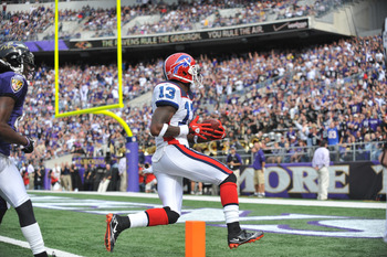 BALTIMORE, MD - OCTOBER 24:  Steve Johnson #13 of the Buffalo Bills scores a touchdown against the Baltimore Ravens at M&T Bank Stadium on October 24, 2010 in Baltimore, Maryland. The Ravens defeated the Bills 37-34. (Photo by Larry French/Getty Images)