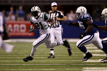INDIANAPOLIS, IN - JANUARY 08:  LaDainian Tomlinson #21 of the New York Jets against the Indianapolis Colts during their 2011 AFC wild card playoff game at Lucas Oil Stadium on January 8, 2011 in Indianapolis, Indiana. The Jets won 17-16. (Photo by Jonath