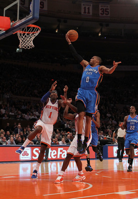 NEW YORK - DECEMBER 22:  Amar'e Stoudemire #1 of the New York Knicks blocks a shot by Russell Westbrook #0 of the Oklahoma City Thunder at Madison Square Garden on December 22, 2010 in New York, New York.   NOTE TO USER: User expressly acknowledges and ag