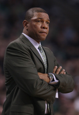 BOSTON, MA - DECEMBER 16:  Head coach Doc Rivers of the Boston Celtics looks on in the first half against the Atlanta Hawks on December 16, 2010 at the TD Garden in Boston, Massachusetts. NOTE TO USER: User expressly acknowledges and agrees that, by downl