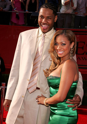 HOLLYWOOD - JULY 13:  Denver Nugget Carmelo Anthony and fiancee MTV VJ LaLa Vasquez arrive at the 13th Annual ESPY Awards at the Kodak Theatre on July 13, 2005 in Hollywood, California.  (Photo by Mark Mainz/Getty Images)