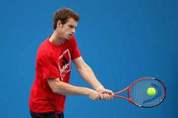 MELBOURNE, AUSTRALIA - JANUARY 17:  Andy Murray of Great Britain plays a backhand during a practice session on day one of the 2011 Australian Open at Melbourne Park on January 17, 2011 in Melbourne, Australia.  (Photo by Lucas Dawson/Getty Images)