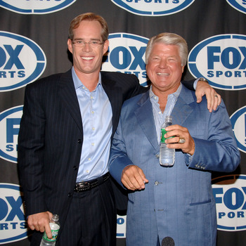 Joe Buck and Jimmy Johnson during a press conference to announce the new Fox football broadcasting team for Fox Sports at the News Corp. Building in New York City, New York on Monday, August 14, 2006. (Photo by Jamie McCarthy/NFL for Fox Sports)