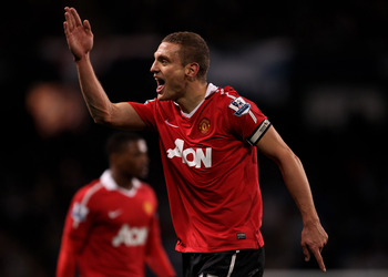 MANCHESTER, UNITED KINGDOM - NOVEMBER 10:   Nemanja Vidic of Manchester United reacts during the Barclays Premier League match between Manchester City and Manchester United at the City of Manchester Stadium on November 10, 2010 in Manchester, England. (Ph