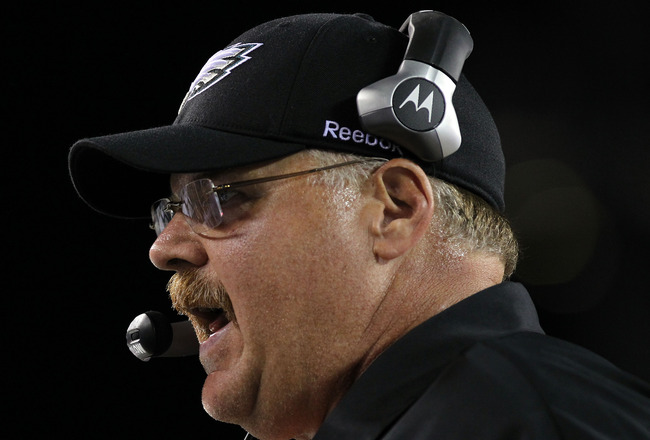PHILADELPHIA - AUGUST 13:  Head Coach of the Philadelphia Eagles, Andy Reid stands on the sideline against the Jacksonville Jaguars during their preseason game at Lincoln Financial Field on August 13, 2010 in Philadelphia, Pennsylvania.  (Photo by Nick La