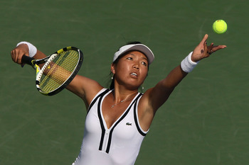 NEW YORK - SEPTEMBER 01:  Vania King of the United States serves against Daniela Hantuchova of Slovakia during her second round match on day three of the 2010 U.S. Open at the USTA Billie Jean King National Tennis Center on September 1, 2010 in the Flushi
