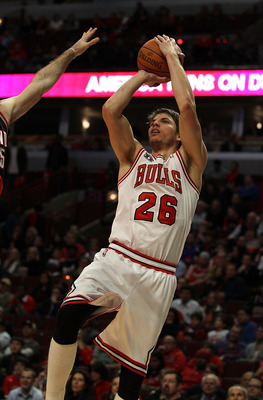 CHICAGO - NOVEMBER 01: Kyle Korver #26 of the Chicago Bulls puts up a shot against the Portland Trail Blazers at the United Center on November 1, 2010 in Chicago, Illinois. The Bulls defeated the Trail Blazers 110-98. NOTE TO USER: User expressly acknowle