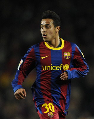 BARCELONA, SPAIN - JANUARY 02:  Thiago Alcantara of Barcelona looks on during the La Liga match between Barcelona and Levante UD at Camp Nou on January 2, 2011 in Barcelona, Spain. Barcelona won 2-1.  (Photo by David Ramos/Getty Images)