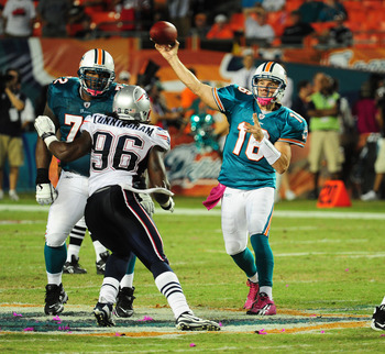MIAMI - OCTOBER 4: Tyler Thigpen #16 of the Miami Dolphins passes against the New England Patriots at Sun Life Field on October 4, 2010 in Miami, Florida. (Photo by Scott Cunningham/Getty Images)