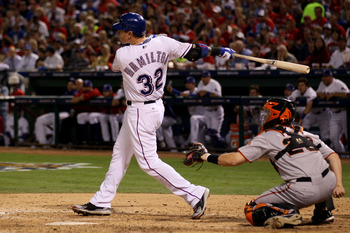 ARLINGTON, TX - OCTOBER 30:  Josh Hamilton #32 of the Texas Rangers hits a solo home run in the bottom of the fifth inning against the San Francisco Giants in Game Three of the 2010 MLB World Series at Rangers Ballpark in Arlington on October 30, 2010 in