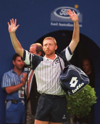26 Jan 1996:  Boris Becker of Germany celebrates after his semifinal match against Mark Woodforde of Australia at the Ford Australian Open at Flinders Park Melbourne, Australia. Becker beat Woodforde in straight sets 6-4, 6-2, 6-0. Mandatory Credit: PhilC