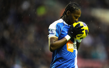 WIGAN, ENGLAND - JANUARY 15:  Hugo Rodallega of Wigan reacts to a missed chance during the Premier League match between Wigan Athletic and Fulham at the DW Stadium on January 15, 2011 in Wigan, England.  (Photo by Michael Regan/Getty Images)