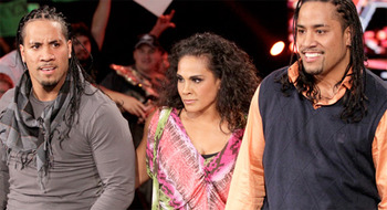 The Usos and Tamina, photo copyright to WWE.com