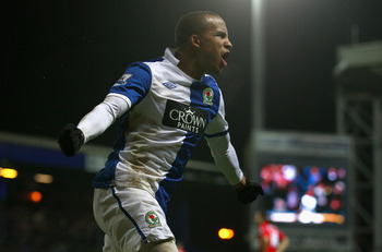 BLACKBURN, ENGLAND - JANUARY 05:  Martin Olsson of Blackburn Rovers celebrates after scoring the first goal during the Barclays Premier League match between Blackburn Rovers and Liverpool at Ewood park on January 5, 2011 in Blackburn, England.  (Photo by