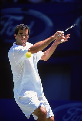19 Jan 2001:  Pete Sampras of the USA in action during the Australian Open 2001 third round match played at Melbourne Park, in Melbourne, Australia. \ Mandatory Credit: Clive Brunskill /Allsport
