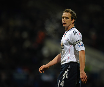 BOLTON, ENGLAND - DECEMBER 26: Kevin Davies of Bolton Wanders looks on during the Barclays Premier League match between Bolton Wanderers and West Bromwich Albion at Reebok Stadium on December 26, 2010 in Bolton, England.  (Photo by Laurence Griffiths/Gett
