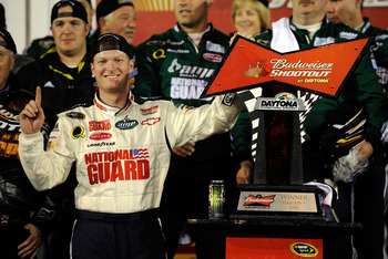 DAYTONA BEACH, FL - FEBRUARY 09: Dale Earnhardt Jr., driver of the #88 Mountian Dew AMP/National Guard Chevrolet, celebrates in victory lane after winning the Budweiser Shootout at Daytona International Speedway on February 9, 2008 in Daytona, Florida.  (
