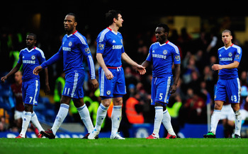 LONDON, ENGLAND - JANUARY 02:  (L-R) Ramires, Didier Drogba, Frank Lampard, Michael Essien and Jeffrey Bruma of Chelsea look dejected as Emile Heskey scores Aston Villa's second goal during the Barclays Premier League match between Chelsea and Aston Villa