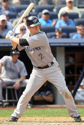 NEW YORK - AUGUST 04:  Aaron Hill #2 of the Toronto Blue Jays bats against the New York Yankees on August 4, 2010 at Yankee Stadium in the Bronx borough of New York City.  (Photo by Jim McIsaac/Getty Images)