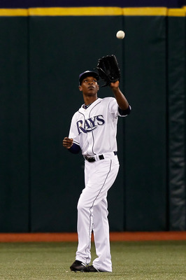 ST. PETERSBURG, FL - AUGUST 31:  Outfielder B.J. Upton #2 of the Tampa Bay Rays catches this fly ball against the Toronto Blue Jays during the game at Tropicana Field on August 31, 2010 in St. Petersburg, Florida.  (Photo by J. Meric/Getty Images)