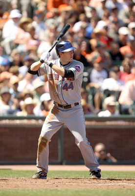 SAN FRANCISCO - JULY 18:  Jason Bay #44 of the New York Mets bats against the San Francisco Giants at AT&T Park on July 18, 2010 in San Francisco, California.  (Photo by Ezra Shaw/Getty Images)