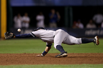 ARLINGTON, TX - OCTOBER 22:  Alex Rodriguez #13 of the New York Yankees can't make a play for a ball on defense against the Texas Ranger in Game Six of the ALCS during the 2010 MLB Playoffs at Rangers Ballpark in Arlington on October 22, 2010 in Arlington