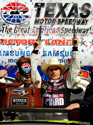 FORT WORTH, TX - APRIL 05:  Jeff Gordon, driver of the #24 DuPont Chevrolet, celebrates in victory lane after winning the NASCAR Sprint Cup Series Samsung 500 at Texas Motor Speedway on April 5, 2009 in Fort Worth, Texas.  (Photo by Rusty Jarrett/Getty Im