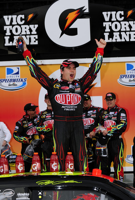 DAYTONA BEACH, FL - FEBRUARY 12: Jeff Gordon, driver of the #24 DuPont Chevrolet, celebrates in victory lane after winning the NASCAR Sprint Cup Series Gatorade Duel 1 at Daytona International Speedway on February 12, 2009 in Daytona Beach, Florida.  (Pho