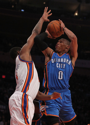 NEW YORK - DECEMBER 22:  Russell Westbrook #0 of the Oklahoma City Thunder in action against the New York Knicks at Madison Square Garden on December 22, 2010 in New York, New York.   NOTE TO USER: User expressly acknowledges and agrees that, by downloadi