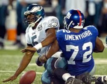 The Eagles decided not to use a left tackle for the game, resulting in an unprecedented six sacks for Osi Umenyiora.