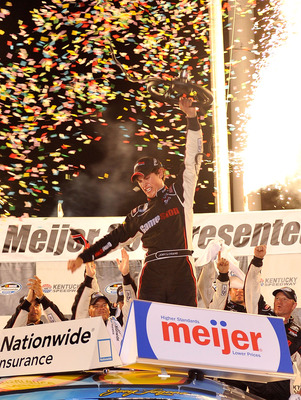 SPARTA, KY - JUNE 12:  Joey Logano, driver of the #20 GameStop Toyota, celebrates in Victory Lane after winning the NASCAR Nationwide Series Meijer 300 presented by Ritz at Kentucky Speedway on June 12, 2010 in Sparta, Kentucky.  (Photo by Grant Halverson