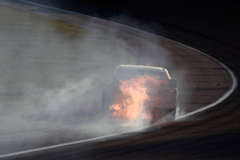 Kyle Busch and his season went up in flames early in the 2010 NASCAR Chase.