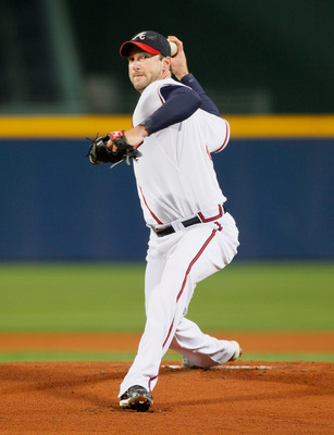 ATLANTA - OCTOBER 11:  Pitcher Derek Lowe #32 of the Atlanta Braves against the San Francisco Giants during Game Four of the NLDS of the 2010 MLB Playoffs at Turner Field on October 11, 2010 in Atlanta, Georgia.  (Photo by Kevin C. Cox/Getty Images)