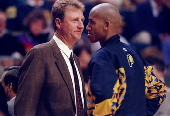 1 Oct 1997:  Head coach Larry Bird of the Indiana Pacers talks to guard Reggie Miller during a game against the Golden State Warriors at the Market Square Arena in Indianapolis, Indiana.  The Pacers won the game 96-83. Mandatory Credit: Mark Lyons  /Allsp