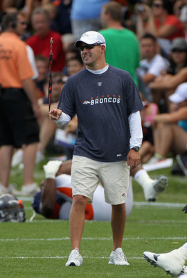 ENGLEWOOD, CO - AUGUST 05:  Head coach Josh McDaniels of the Denver Bronocs surveys practice at training camp at Dove Valley on August 5, 2010 in Englewood, Colorado.  (Photo by Doug Pensinger/Getty Images)
