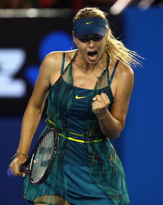 MELBOURNE, AUSTRALIA - JANUARY 18:  Maria Sharapova of Russia celebrates after winning a point in her first round match against Maria Kirilenko of Russia during day one of the 2010 Australian Open at Melbourne Park on January 18, 2010 in Melbourne, Austra
