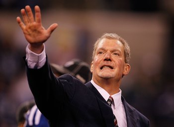 INDIANAPOLIS - JANUARY 24:  Jim Irsay Owner of the Indianapolis Colts celebrates their 30-17 victory of the New York Jets during the Lamar Hunt Trophy presentation after the AFC Championship Game at Lucas Oil Stadium on January 24, 2010 in Indianapolis, I