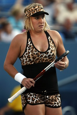 NEW YORK - SEPTEMBER 04:  Bethanie Mattek takes part in her Women's Doubles Quarter Finals during day nine of the 2007 U.S. Open at the Billie Jean King National Tennis Center on September 4, 2007 in the Flushing neighborhood of the Queens borough of New