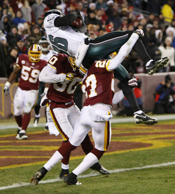 Check out how high Reggie Brown was thrown in the air by the Redskins' defenders on the game's final play. And look how close he was to scoring.