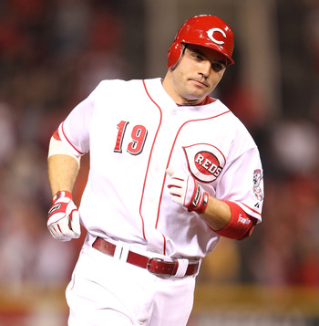 CINCINNATI - SEPTEMBER 11:  Joey Votto #19 of the Cincinnati Reds runs the bases after hitting a game winning home run during the game against the Pittsburg Pirates at Great American Ball Park on September 11, 2010 in Cincinnati, Ohio. The Reds won 5-4  (