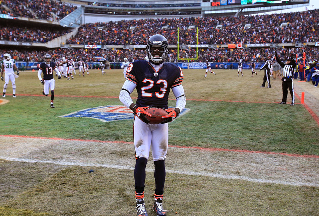 CHICAGO, IL - DECEMBER 26: Devin Hester #23 of the Chicago Bears celebrates a touchdown catch against the New York Jets at Soldier Field on December 26, 2010 in Chicago, Illinois. The Bears defeated the Jets 38-34. (Photo by Jonathan Daniel/Getty Images)