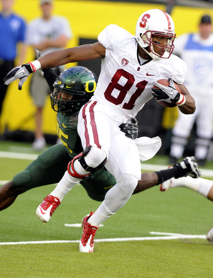 EUGENE, OR - OCTOBER 2: Wide receiver Chris Owusu #81 of the Stanford Cardinal looks for some running room  as he returns a kick in the second quarter of the game against the Oregon Ducks at Autzen Stadium on October 2, 2010 in Eugene, Oregon. Oregon won