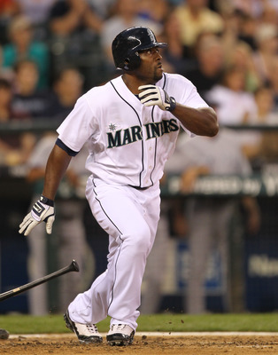 SEATTLE - JULY 10:  Milton Bradley #15 of the Seattle Mariners bats against the New York Yankees at Safeco Field on July 10, 2010 in Seattle, Washington. (Photo by Otto Greule Jr/Getty Images)
