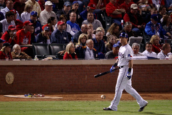 ARLINGTON, TX - NOVEMBER 01:  Josh Hamilton #32 of the Texas Rangers reacts after striking out against the San Francisco Giants in the fourth inning of Game Five of the 2010 MLB World Series at Rangers Ballpark in Arlington on November 1, 2010 in Arlingto