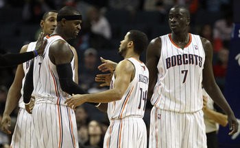 CHARLOTTE, NC - DECEMBER 29:  Teammates Stephen Jackson #1 and D.J. Augustin #14 of the Charlotte Bobcats react after a play during their game against the Cleveland Cavaliers at Time Warner Cable Arena on December 29, 2010 in Charlotte, North Carolina. NO