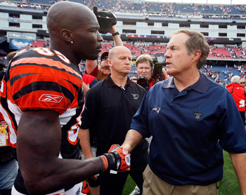 FOXBORO, MA - SEPTEMBER 12:  Coach Bill Belichick of the New England Patriots shakes hands with Chad Ochocinco #85 of the Cincinnati Bengals at the completion of  the NFL season opener at Gillette Stadium on September 12, 2010 in Foxboro, Massachusetts. T