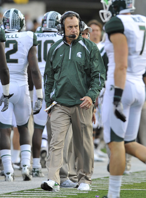 IOWA CITY, IA - OCTOBER 30: Michigan State Spartans head coach Mark Dantonio looks on from the sidelines during play against the University of Iowa Hawkeyes at Kinnick Stadium on October 30, 2010 in Iowa City, Iowa. Iowa won 37-6 over Michigan State. (Pho