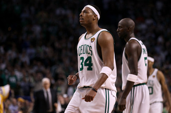 BOSTON - JUNE 13:  Paul Pierce #34 of the Boston Celtics celebrates after a play against the Los Angeles Lakers in the fourth quarter during Game Five of the 2010 NBA Finals on June 13, 2010 at TD Garden in Boston, Massachusetts. NOTE TO USER: User expres